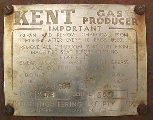 Kent gasifier name plate